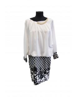 Női egyrészes ruha-Fekete-Fehér Mintás
