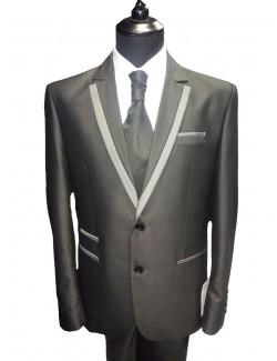 Esküvői slim fit fazonú öltöny-Sötétszürke