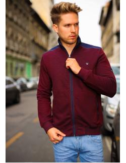 Antracid Férfi slim zippes pulóver-Bordó